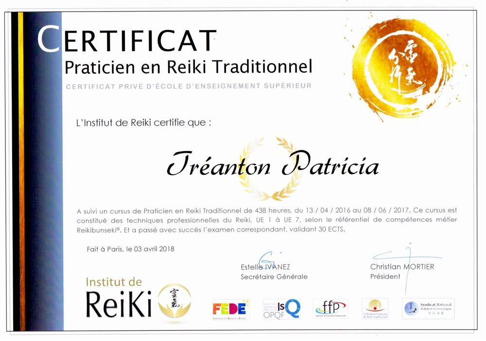 certificat : Relaxologue : Patricia TRÉANTON . Relaxologie dans le Finistère ( 29 ) . Je vous propose des séances de relaxologie de pleine conscience dans le Finistère ( 29 ). méthode Lao-Tseu-Ki® .